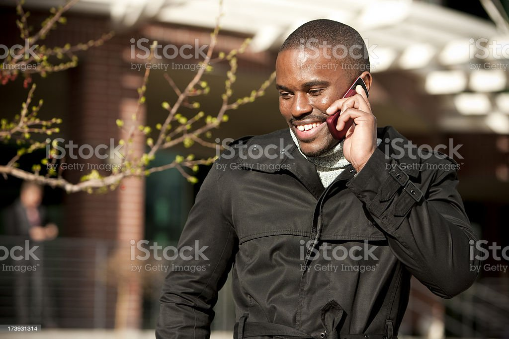 Hip African American Talking on Cell Phone royalty-free stock photo