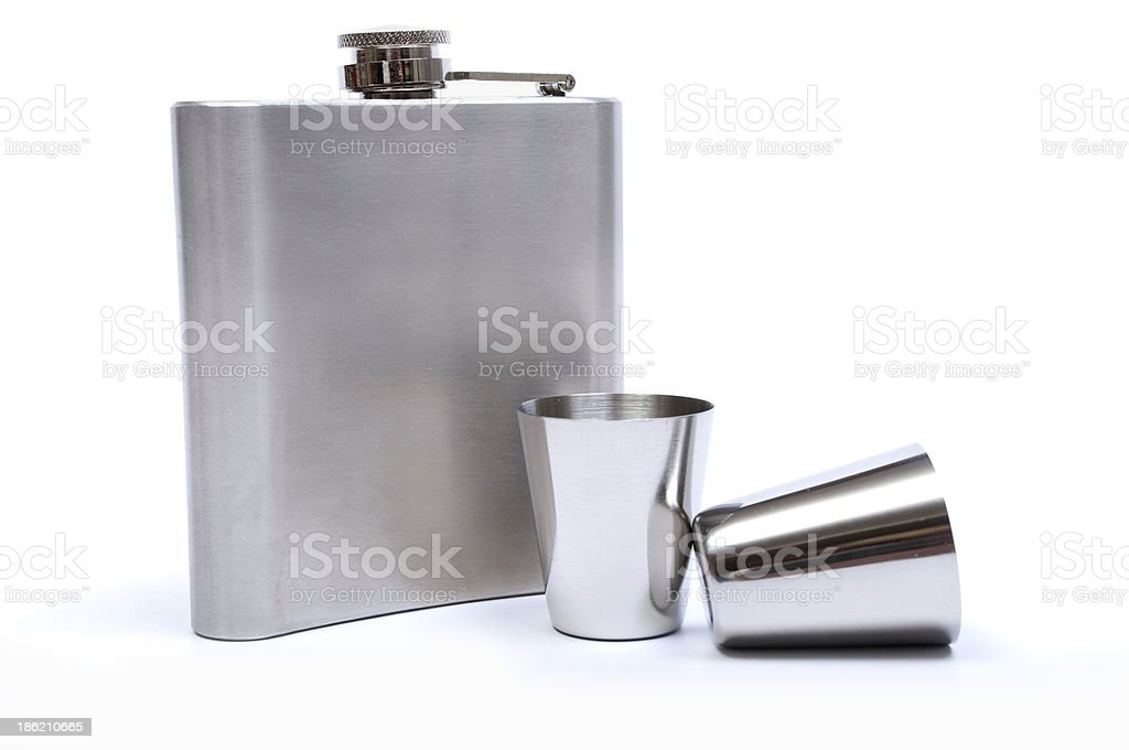 Hip flask and cups with white background royalty-free stock photo