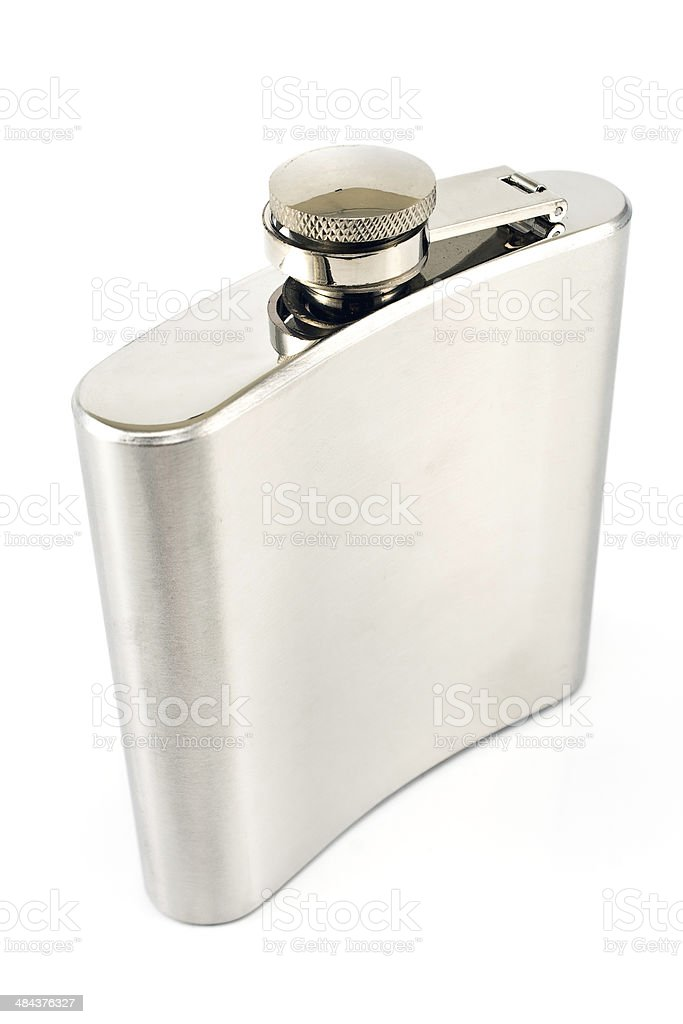 Hip flask for alcohol stock photo