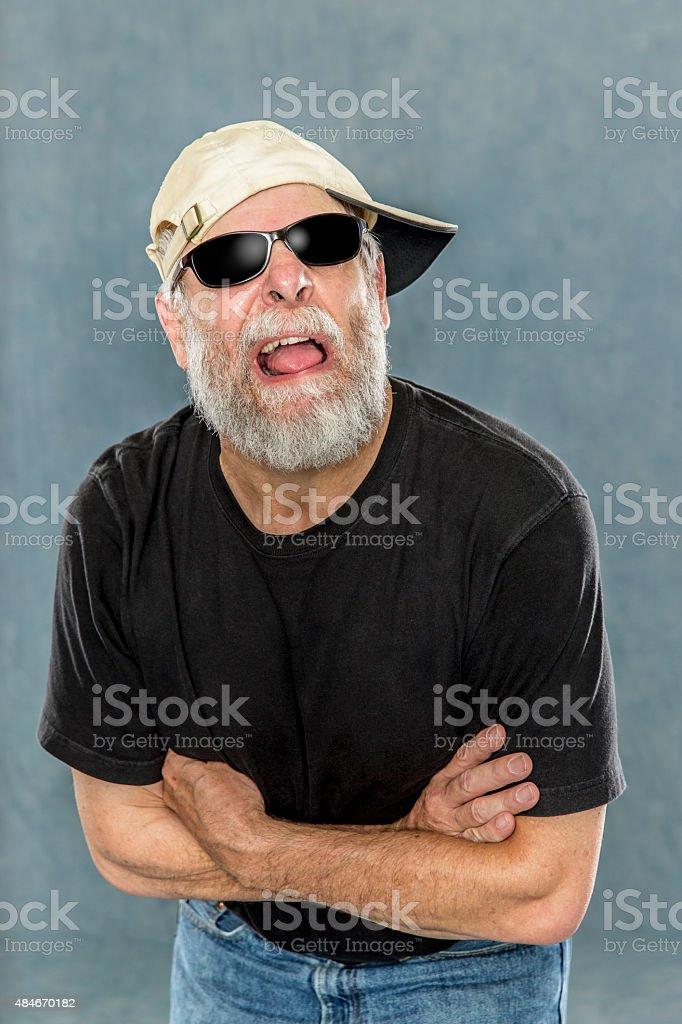 Hip Grandpa Busts out with the Attitude stock photo