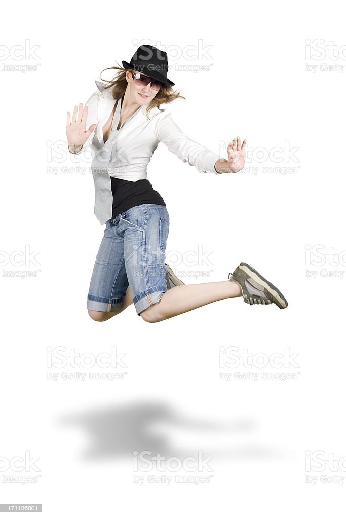 hip hop dancer girl jump isolated on white royalty-free stock photo