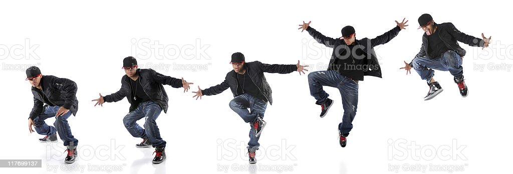 Hip hop dancer in Jump Progression royalty-free stock photo