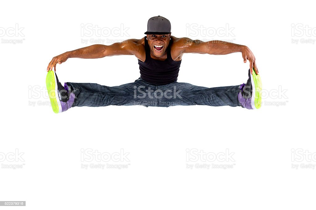 Hip Hop Dancer Jumping or Parkour stock photo