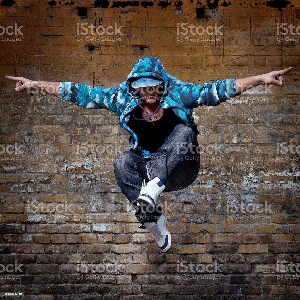 Hip Hop Dancer Jumping stock photo