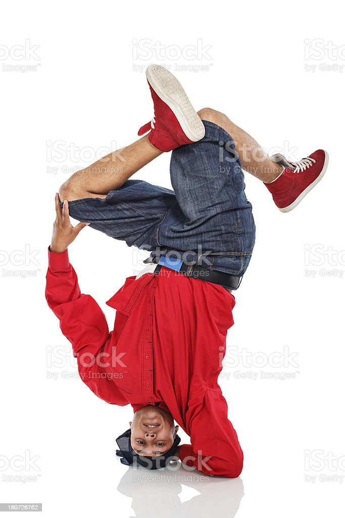 Hip Hop dancer performer stand on arm and head royalty-free stock photo