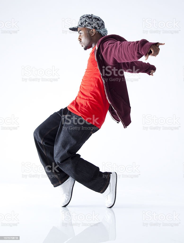 hip hop dancer standing on his toes stock photo