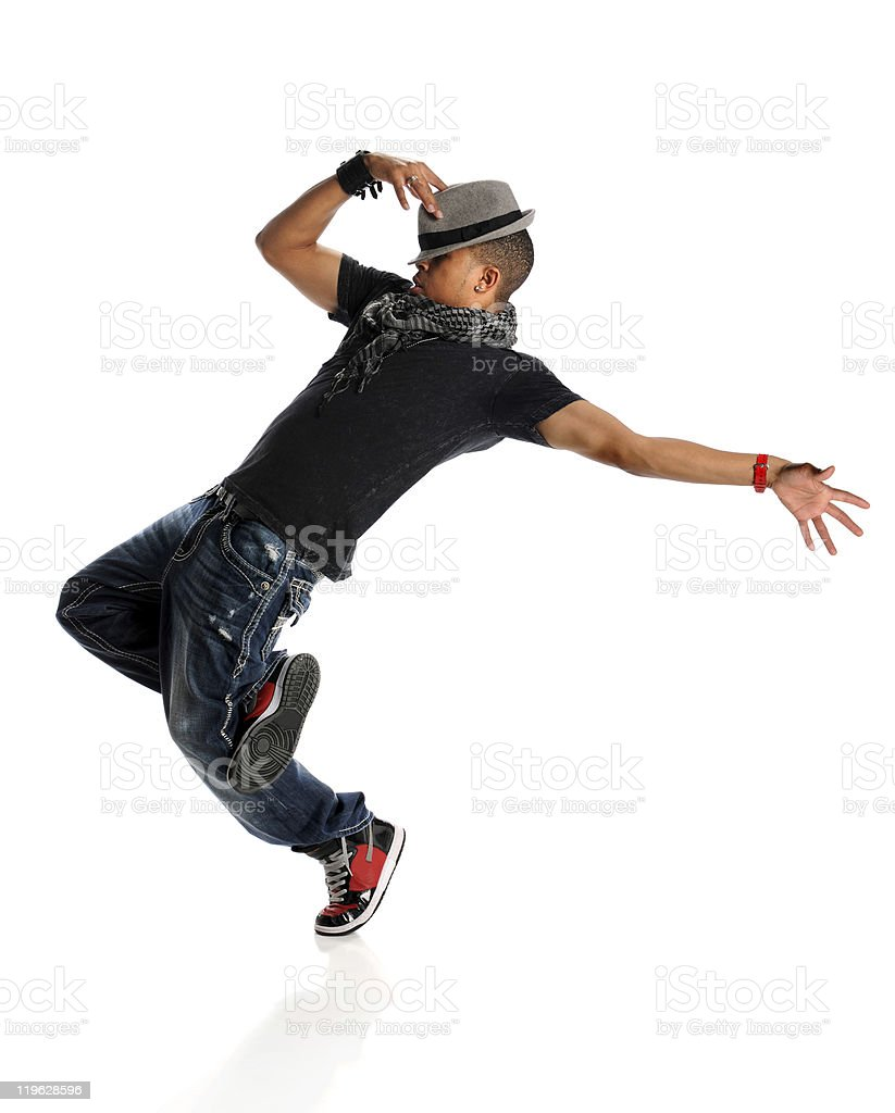 A hip hop dancer wearing a gray hat and a black shirt stock photo