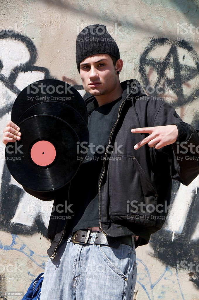 Hip Hop Man with Longplay stock photo
