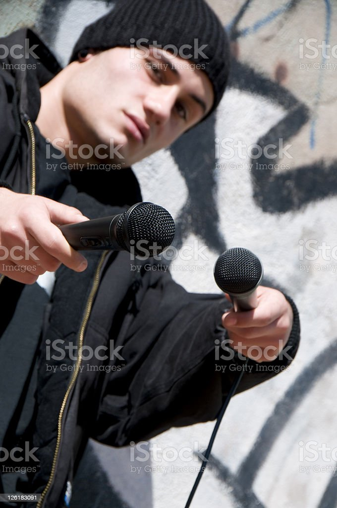 Hip Hop Man with microphone stock photo