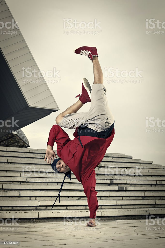 Hip Hop street dancer one hand stand stock photo