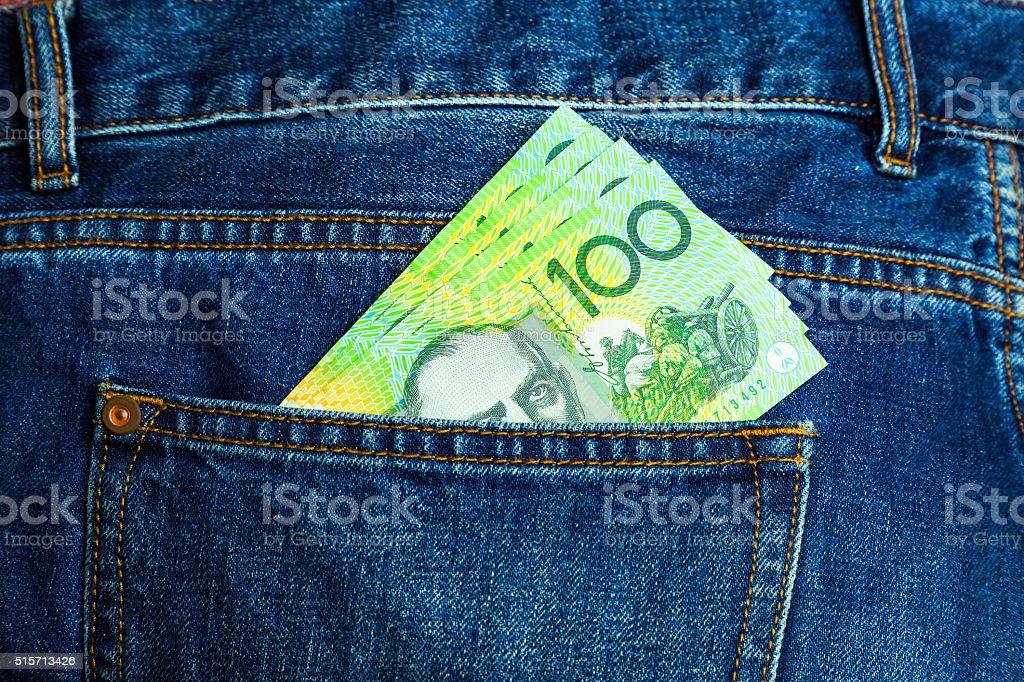 Hip Pocket full of cash stock photo