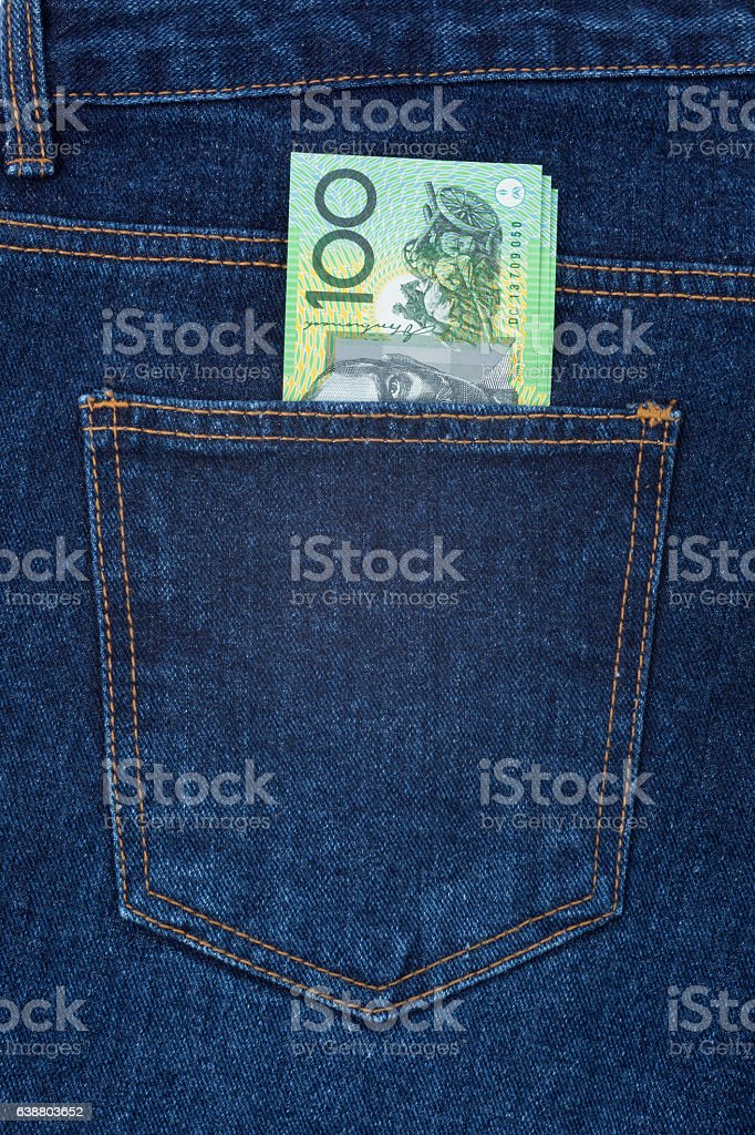 Hip Pocket of cash stock photo