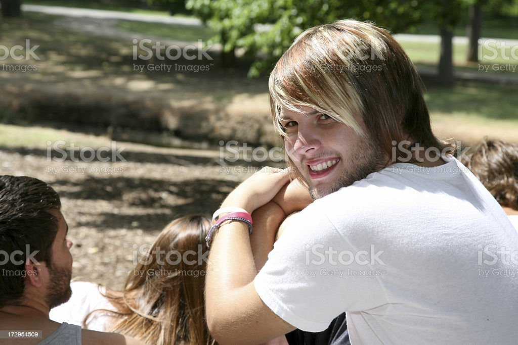 Hip Teenager with Friends royalty-free stock photo