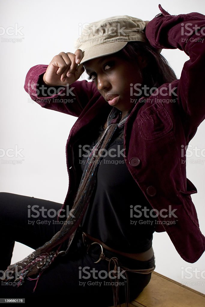Hip young black woman (extreme lighting) stock photo