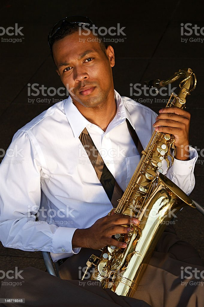 Hip Young Saxophonist royalty-free stock photo