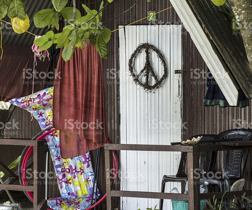 Hippie bungalow on the beach stock photo