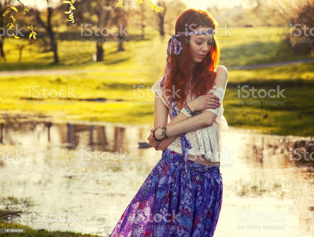 Hippie girl portrait stock photo