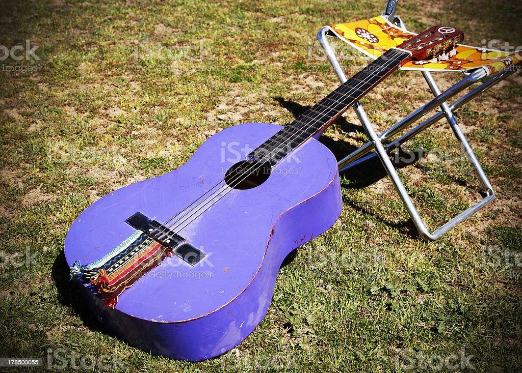 Hippie spanish guitar stock photo