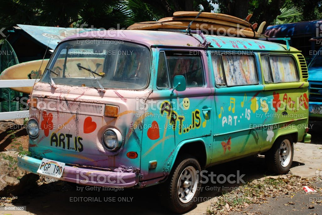 Hippie van, Hawaii stock photo