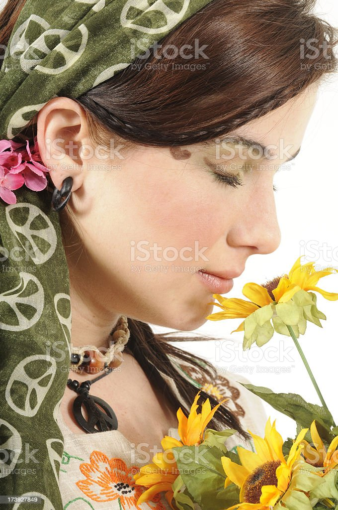 Hippie Woman with Flowers royalty-free stock photo