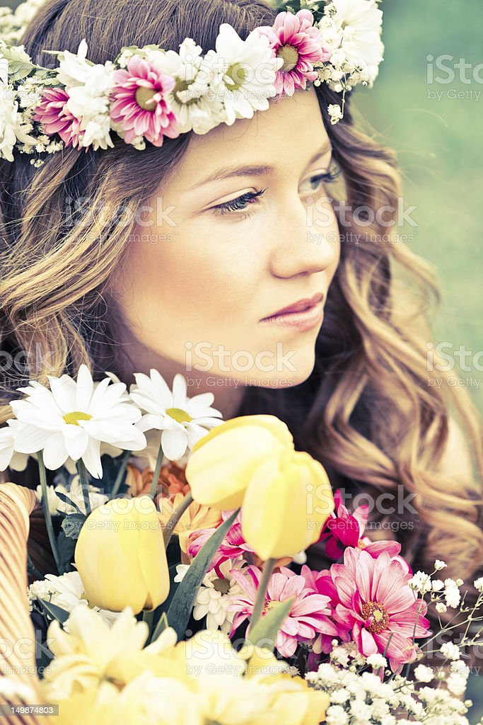 Hippie young woman stock photo