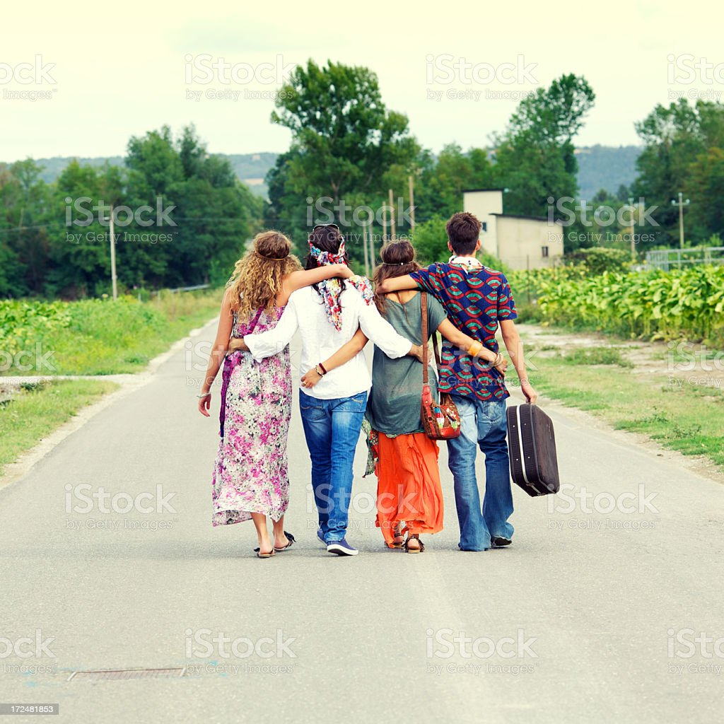 Hippies on the road royalty-free stock photo