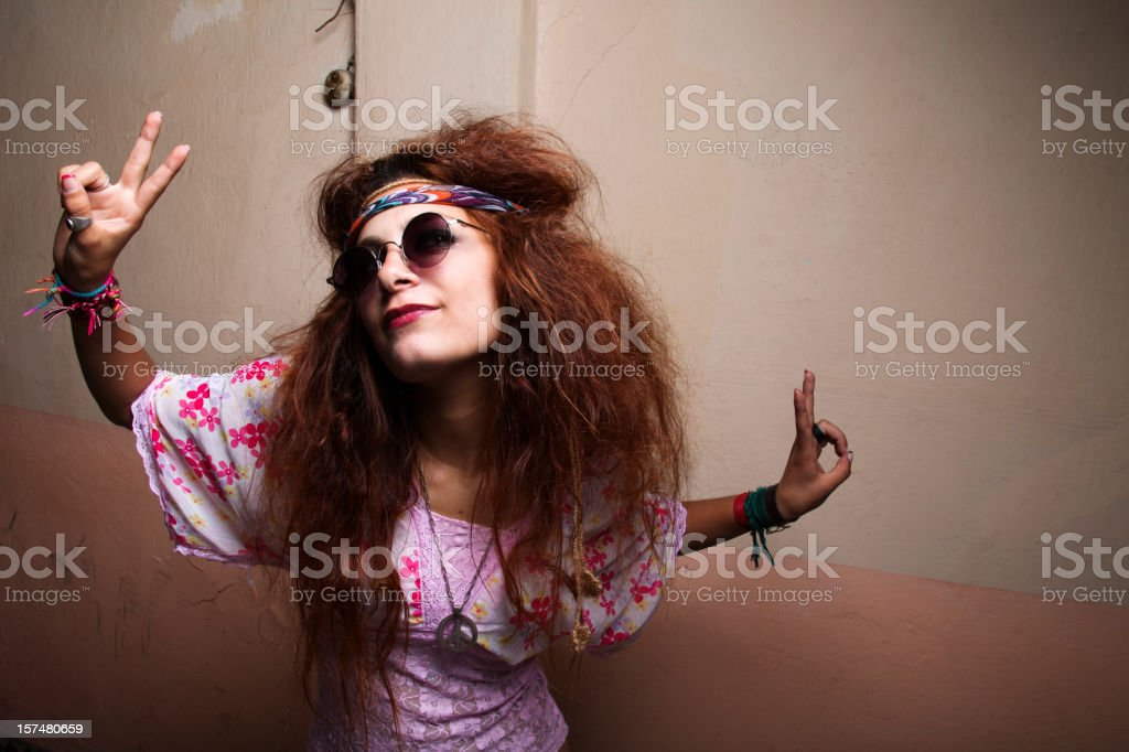 Hippie's victory royalty-free stock photo