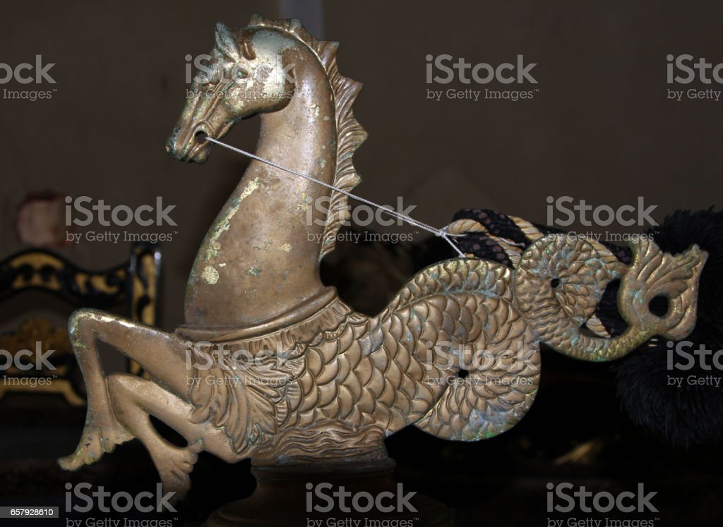 Hippocampus - traditional decoration of Venetian gondola, Italy stock photo