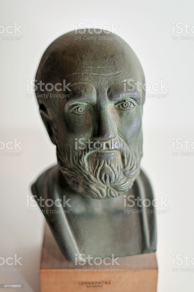 Hippocrates of Cos bust stock photo