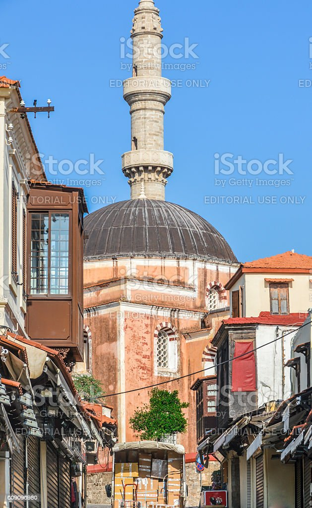 Hippocrates Square in the historic Old Town of Rhodes, Greece stock photo