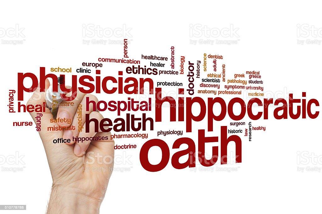 Hippocratic oath word cloud stock photo