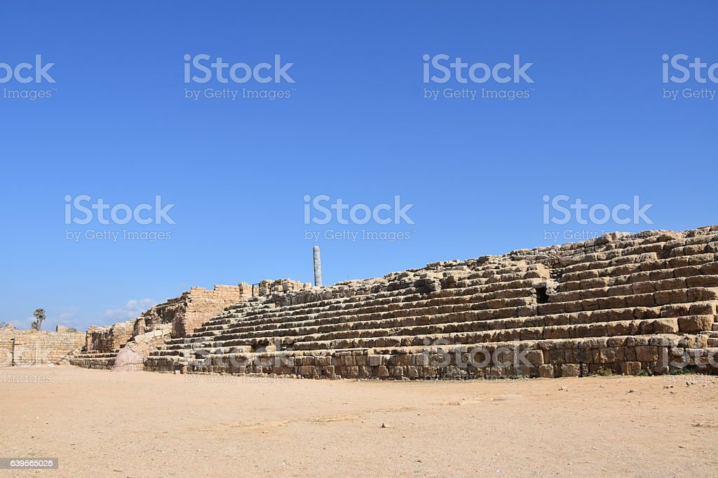 Hippodrome in Caesarea Maritima National Park stock photo