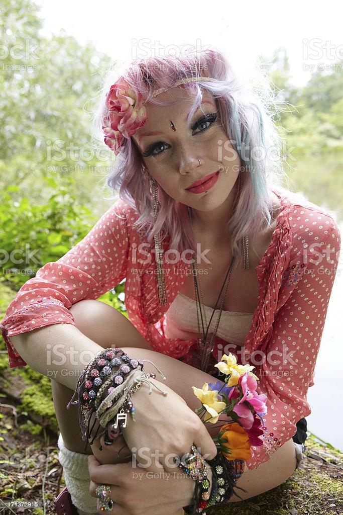 Hippy girl portrait royalty-free stock photo