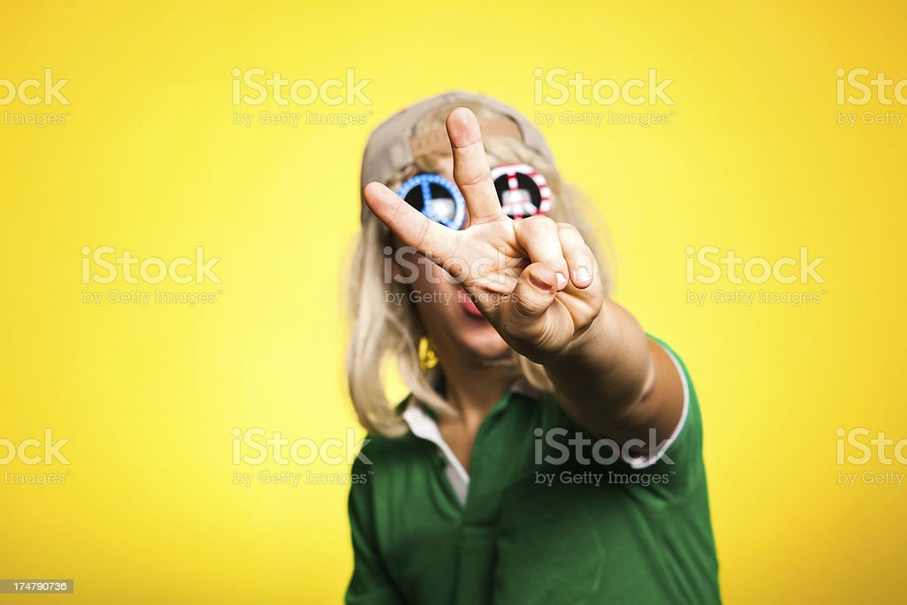 Hippy Peace Sign Young Guy royalty-free stock photo