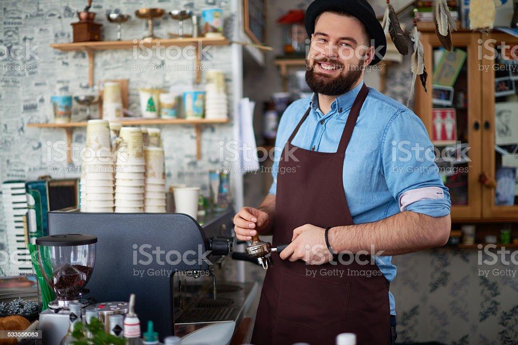 Hipsta barista stock photo
