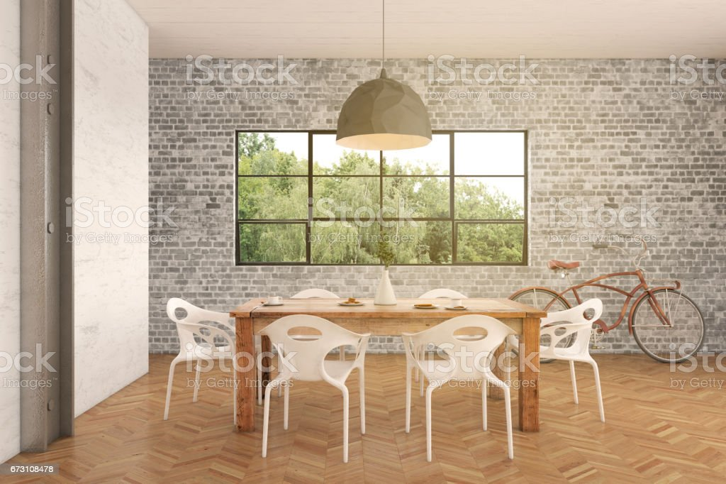 Hipster apartment interior dining room stock photo