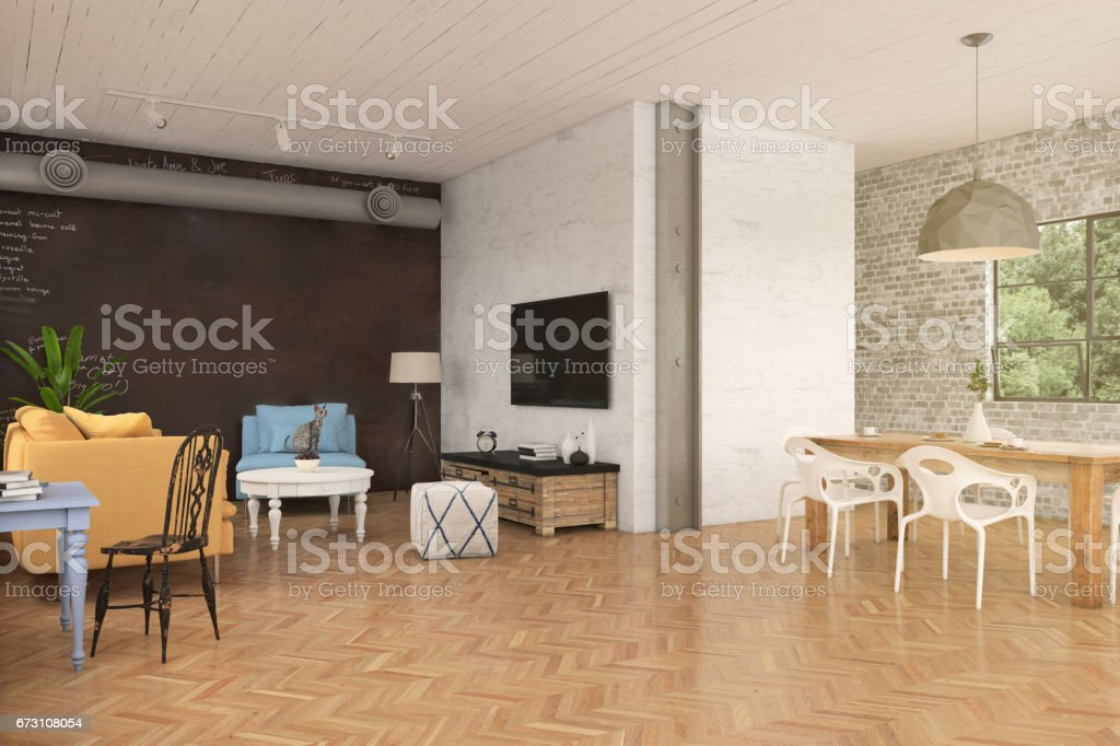 Hipster apartment interior stock photo