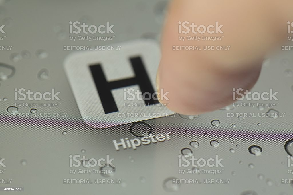 Hipster app on a New iPad royalty-free stock photo