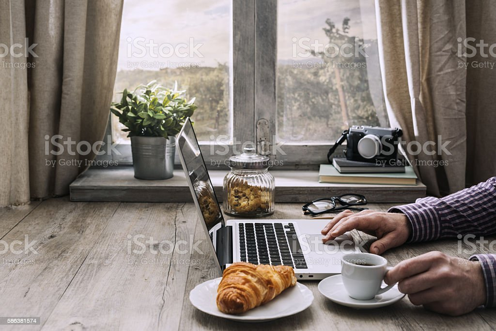 Hipster breakfast at home stock photo