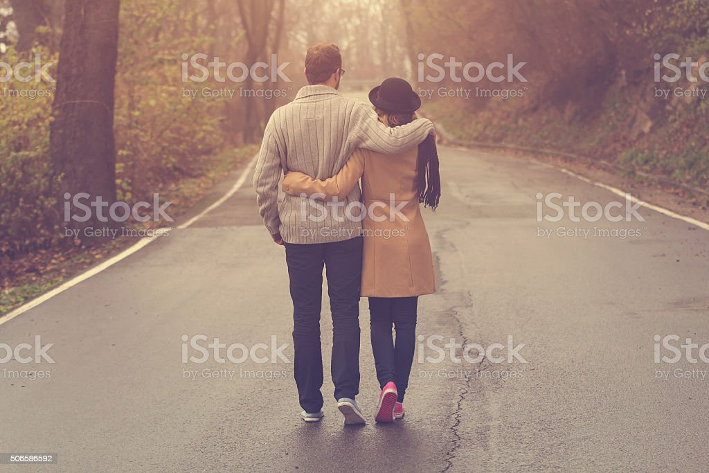 Hipster couple in love. stock photo