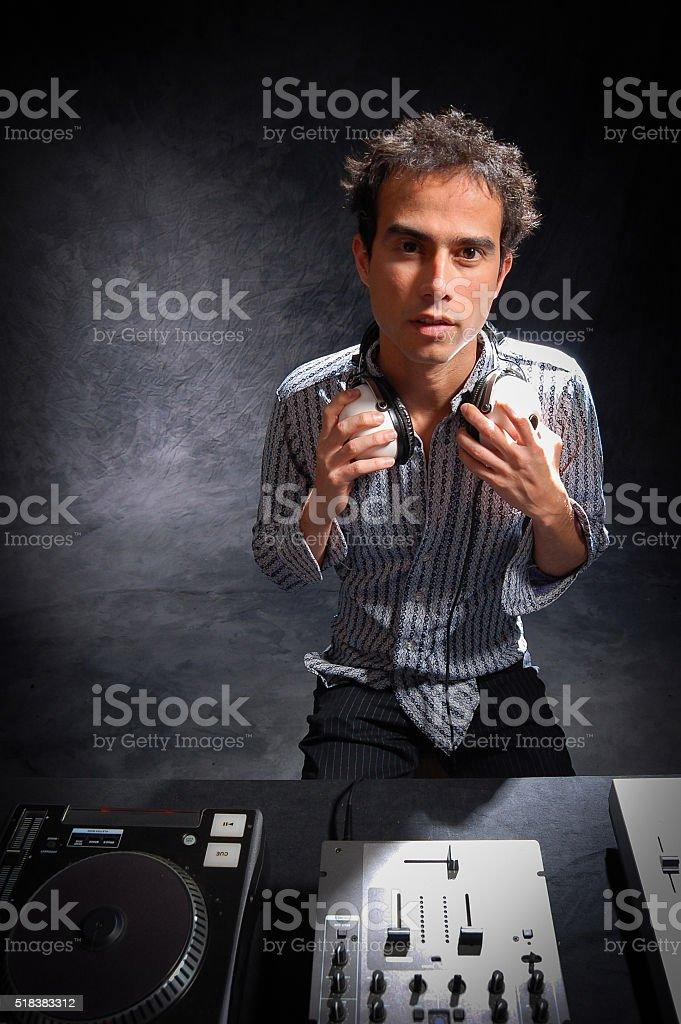 Hipster DJ Portrait with Decks stock photo