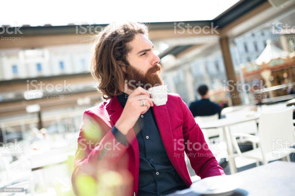 hipster doing the breakfast stock photo