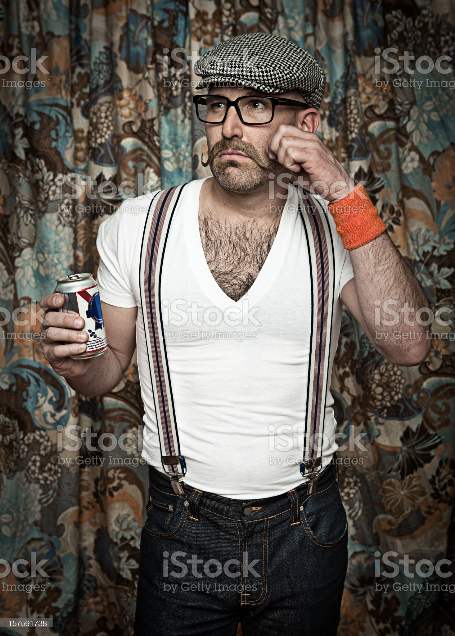 Hipster drinking a beer royalty-free stock photo
