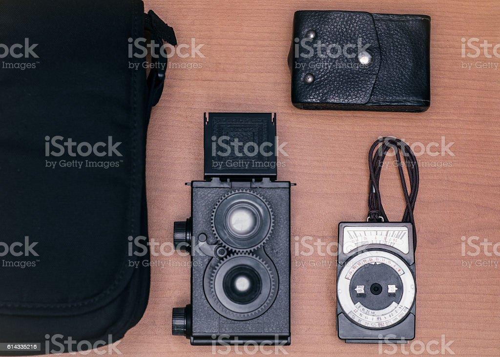 Hipster equipo fotográfico de viajes retro stock photo