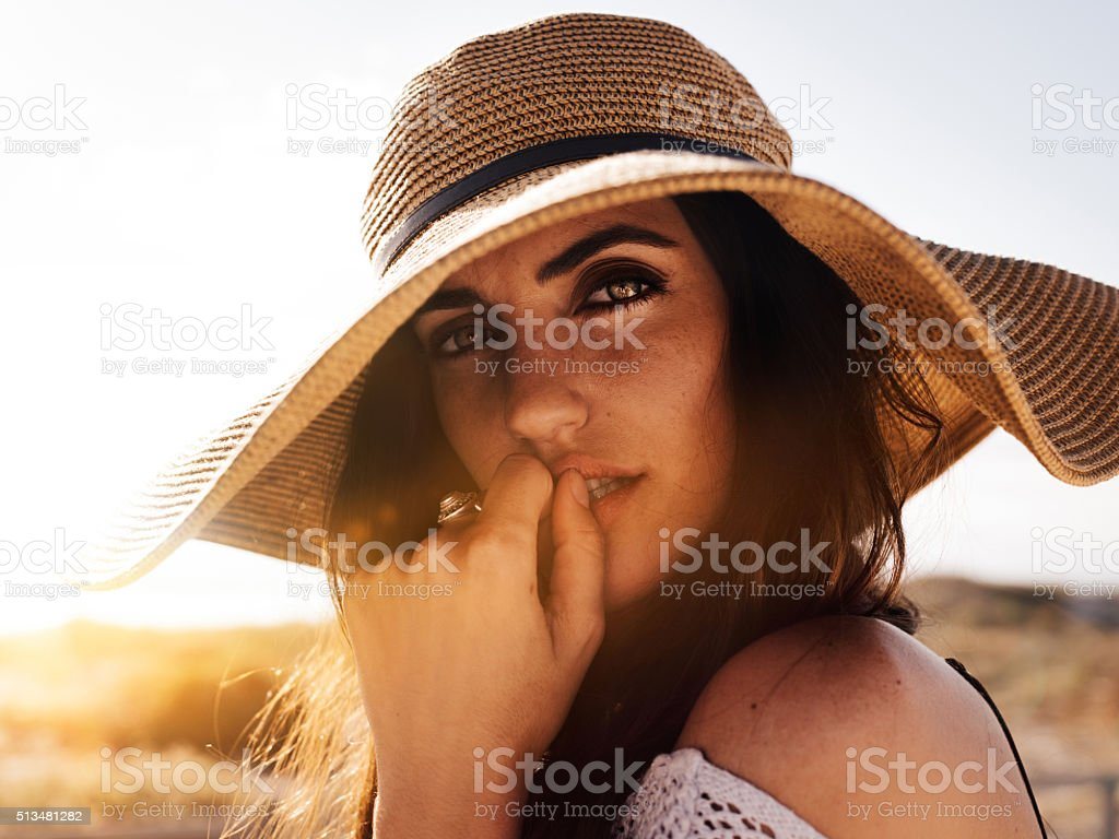 Hipster Girl close up on Sandy Beach stock photo