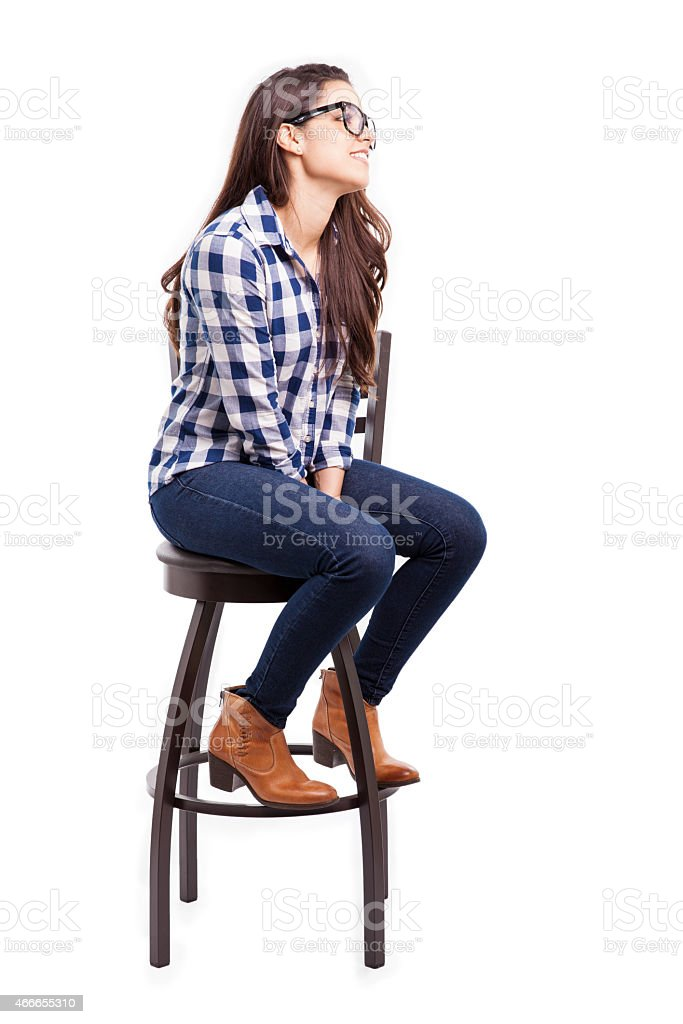 Hipster girl looking up stock photo