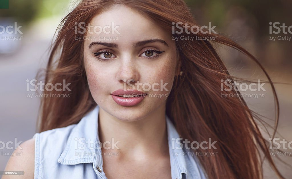 hipster girl outdoors royalty-free stock photo