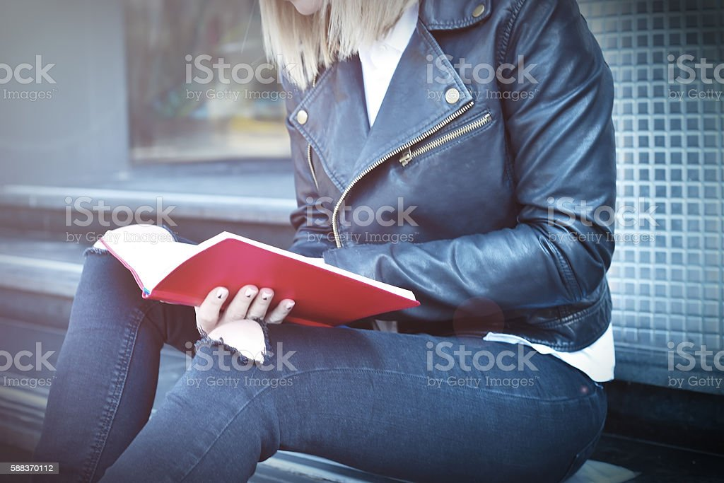 hipster girl with diary stock photo