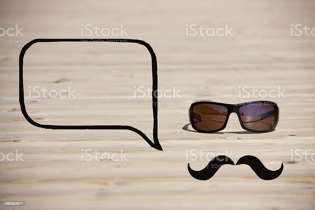 hipster glasses with mustache and callout stock photo
