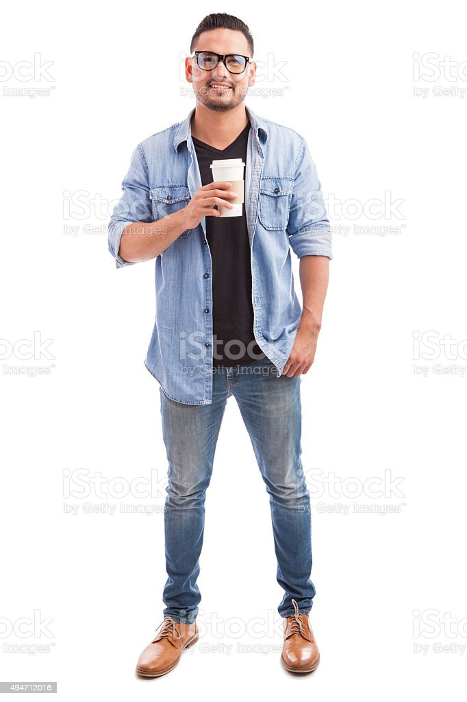 Hipster guy drinking some coffe stock photo